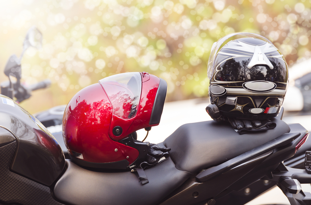 two helmets in motorcycle seat in arizona