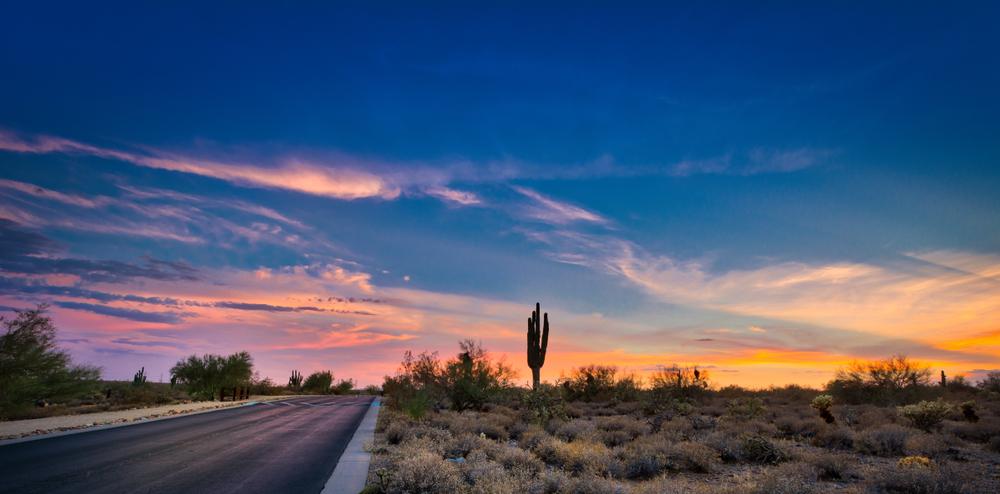 a desert sunset on a road in Scottsdale arizona