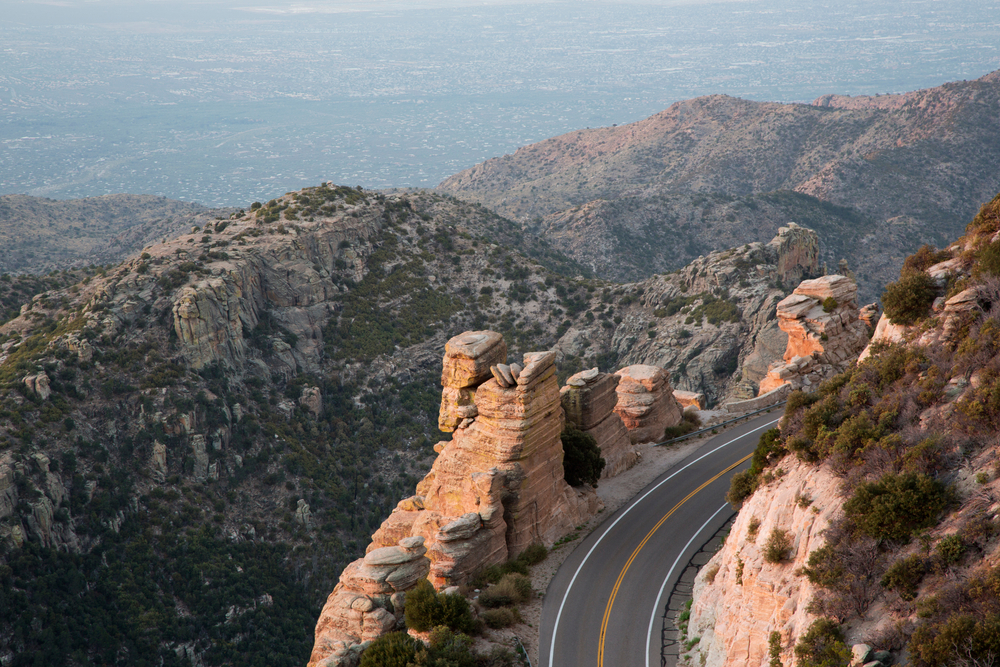 scenic view of catalina highway in arizona