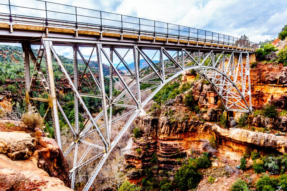 steel bridge on oak creek canyon arizona